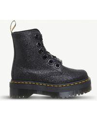 Dr. Martens - Molly 8-eye Glitter Platform Boots - Lyst