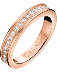 Calvin Klein - Hook Rose Gold-tone Pavé Crystal Ring - Lyst