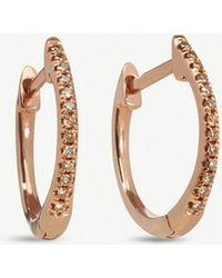 Annoushka - Eclipse 18ct Rose Gold Diamond Fine Hoop Earrings - Lyst