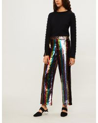 Alice + Olivia - Meera High-rise Sequinned Striped Trousers - Lyst