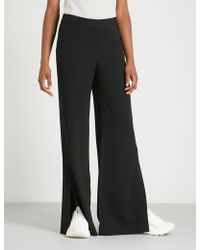 Theory - Admir Wide-leg Mid-rise Crepe Trousers - Lyst