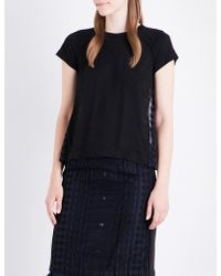 Sacai - Cable-pattern Jersey Top - Lyst