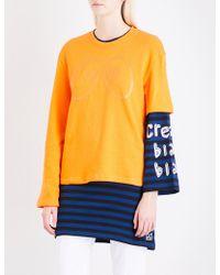 Mini Cream - Layered Cotton-jersey Dress - Lyst