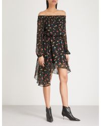 Mo&co. - Floral-print Off-the-shoulder Silk-chiffon Dress - Lyst