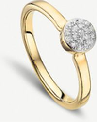 Monica Vinader - Fiji Gold And Diamond Mini Button Stacking Ring - Lyst