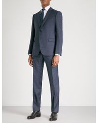 Armani - Overcheck-patterned Tailored-fit Wool Suit - Lyst