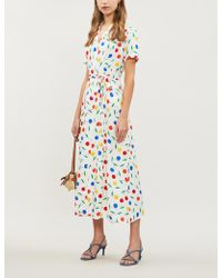 HVN Long Maria Cherry-print Silk Shirt Dress