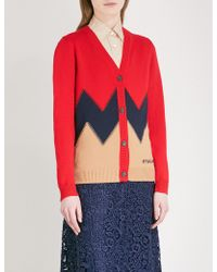 Miu Miu - Zigzag-panelled Wool Cardigan - Lyst