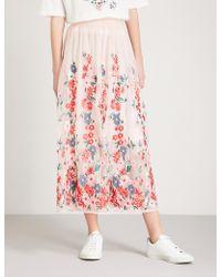 Maje - Jamie Floral-embroidered Tulle Midi Skirt - Lyst