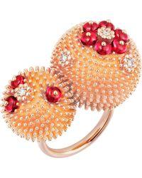 Cartier - Cactus De 18ct Rose-gold And Diamond Ring - Lyst