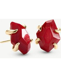 Kendra Scott - Inaiyah 14ct Gold-plated And Red Mother-of-pearl Earrings - Lyst