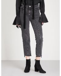 Mo&co. - Notched-hem Skinny Cropped High-rise Jeans - Lyst