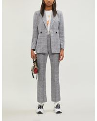 Sandro - Checked Double-breasted Linen-blend Blazer - Lyst