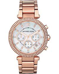 Michael Kors - Mk5491 Parker Rose Gold-plated Watch - Lyst