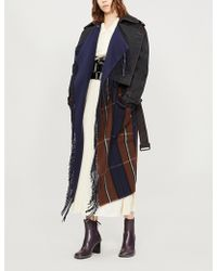 Loewe - Checked-panel Wool And Cashmere-blend Trench Coat - Lyst