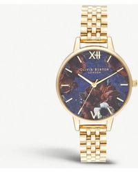 Olivia Burton - Ob16sp13 Semi-precious Yellow Gold-plated And Lapis Lazuli Watch - Lyst