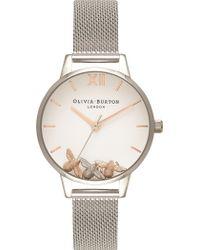 Olivia Burton - Trio Bee Silver Quartz Mesh Strap Watch - Lyst