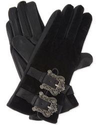 The Kooples - Leather And Velvet Gloves - Lyst
