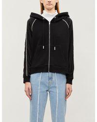The Kooples - Lace-insert Cotton-jersey Zipped Hoody - Lyst