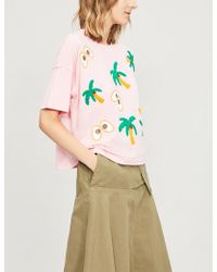 Mini Cream - Embroidered Cotton-jersey T-shirt - Lyst