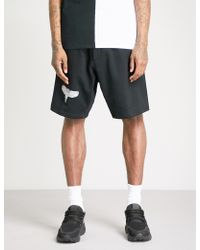 Marcelo Burlon - Double Wing Mid-rise Cotton-jersey Shorts - Lyst