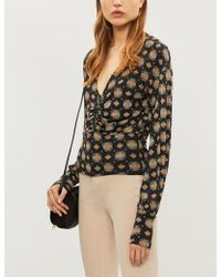 Free People - Sydney's V-neck Printed Jersey Top - Lyst