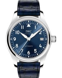Iwc - Pilot's 36 Alligator Leather And Stainless Steel Watch - Lyst