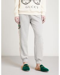 Gucci - Striped Cat Cotton-jersey Jogging Bottoms - Lyst