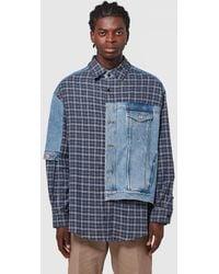 Martine Rose - Denim Hybrid Check Print Shirt - Lyst