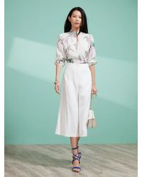 Shanghai Tang - Wisteria Print Blouse With Embroidery - Lyst
