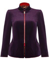 Shanghai Tang - Mandarin Collar Velvet Jacket Full Zip - Lyst