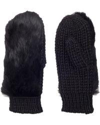 Kurt Geiger - Fur Knitted Mittens Gloves No Heel Black - Lyst