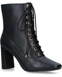 4a7bad17edf0 River Island - Lace Up Square Toe Boots High Heel +60mm Ankle Boots Black  Block