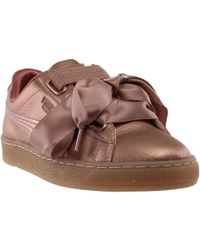 d31962f6ed80 Lyst - PUMA Womens Copper Pink Basket Heart Patent Trainers in Pink
