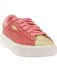 89f4f9aff22a Lyst - PUMA Basket Heart Glam Preschool Sneakers in Red