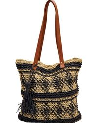 San Diego Hat Company | Paper Tote W/ Faux Leather Handle/tassle Bsb1726 | Lyst
