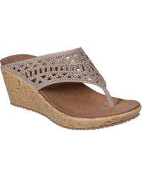 498e23ecdd912 Lyst - Skechers Bumb Summer Wedge Sandal in Metallic