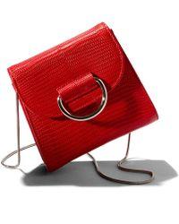 Little Liffner - Red Lizard Embossed Saddle Bag - Lyst