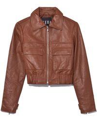 VEDA - Brown Saddle Jack Leather Jacket - Lyst
