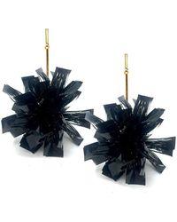 "Tuleste - 4"" Black Lurex Pom Pom Earrings - Lyst"