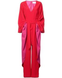 fe2ea000e12c Lyst - Sara Battaglia Panelled Jumpsuit in Red - Save 45.45454545454545%