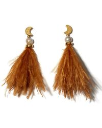 Lizzie Fortunato - Orange Feather And Pearl Parker Earrings - Lyst