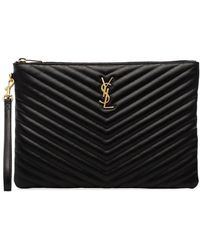 d9df562edef Saint Laurent - New Jolie Logo Quilted Leather Pouch - Lyst