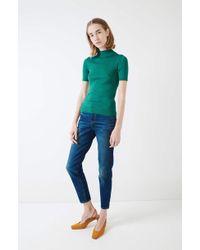 Une Heures - Short Sleeve Mockneck Sweater - Lyst