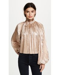 Opening Ceremony | Foil Pleated Bishop Sleeve Top | Lyst