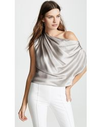 38ed3736f52f1c Lyst - Michelle Mason Cold-shoulder Wrap-effect Silk-charmeuse Top ...