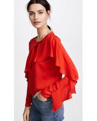 MILLY - Stretch Silk Cascade Sleeve Top - Lyst