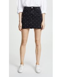 Current/Elliott - Polka Dot Denim Mini Skirt - Lyst