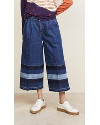 Sonia Rykiel - Cropped Jeans With Striped Effect - Lyst