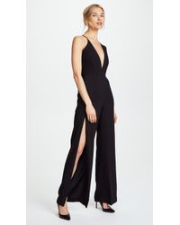 Michelle Mason - Palazzo Jumpsuit With Slits - Lyst